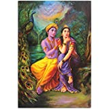 Large RadhaKrishna Painting Frame Modern Abstract Textured Canvas Painting Wall Art Frame For Home Decoration Beautiful Abstrat Art Yellow Orange Blue Ready To Hang For Wall Decoration Of Home Office Hotel Meditation And Gifting.