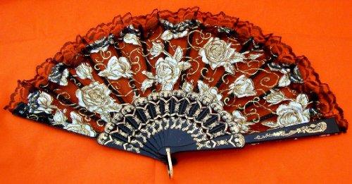 AAF Nommel ®, Fächer schwarz mit Rosen Muster Tanz Deko Sommer Bauchtanz, Nr. - Japan Tanz Kostüm
