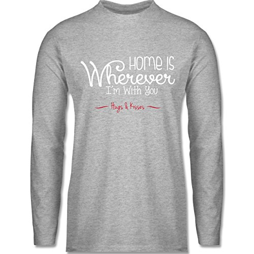 Shirtracer Statement Shirts - Home is Wherever I'm With You Hugs & Kisses - Herren Langarmshirt Grau Meliert