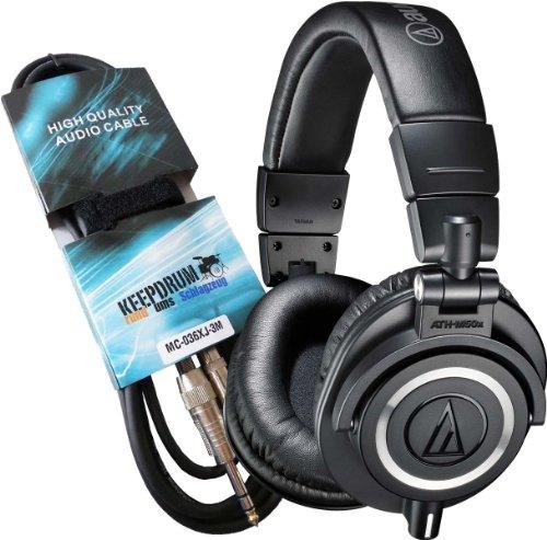 Preisvergleich Produktbild Audio-Technica ATH-M50X DJ-Kopfhörer + Keepdrum Verlängerungskabel 3m GRATIS!