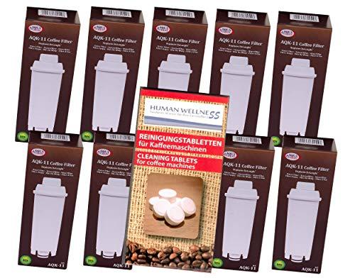 Human-Wellness 10 x AQK-11 - Wasserfilter für DeLonghi Kaffeemaschine - ersetzt DLS C002 / Ser...
