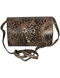 Bizarre Vogue Stylish Partywear Sling Bags For Women & Girls (Adjustable Strap, Brown)