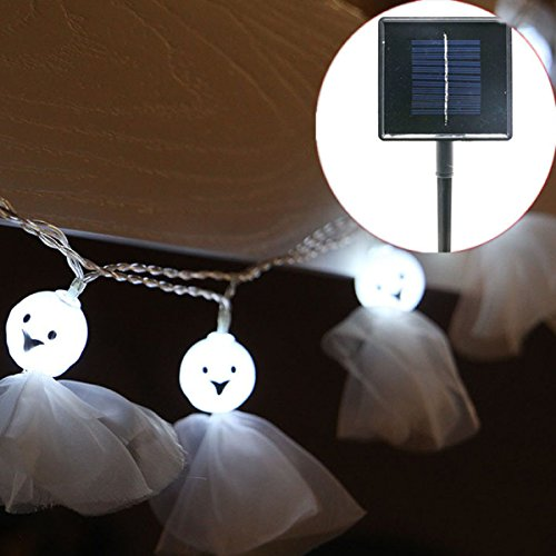 8.2ft / 2.5M 10LED Geisterlaternen Solarkette Lichter Im Freien Halloween Dekorative Lichter,White