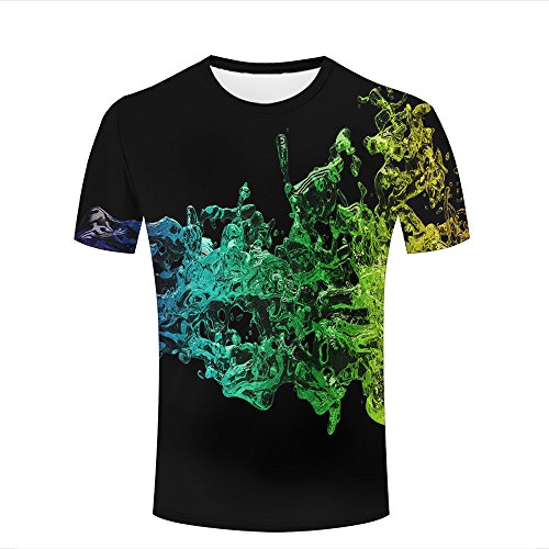 Mens Casual Design 3D Printed Yellow-Green Gradient Water Waves Graphic Short Sleeve Couple T-Shirts Top Tee XL (Tee Sleeve Long Spandex Printed)
