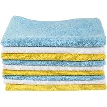 AmazonBasics - Panni in microfibra (confezione da 36 unità), color bianco, celeste e giallo