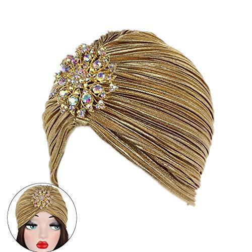Weicher gerippter Turban-Hut mit Legierung, glänzendes Design, Chemo-Caps, Krebsmütze, für Damen (Gold)
