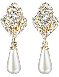 Nunca la FE de cristal austriaco de color Dorado Color Crema Perla Simulada flor Bud Dangle Pendientes Transparente