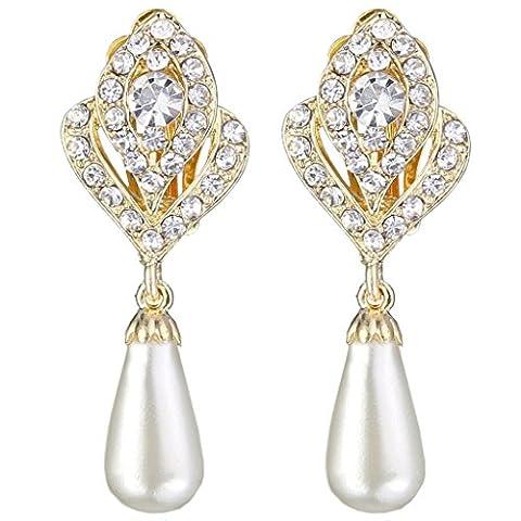 EVER FAITH® Ton d'Or Cristal Crème Perle Artificielle Fleur Bouton