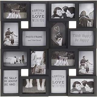 AiO-S - OK Bilderrahmen Collage für 16 Fotos im Format 10 x 16 cm Fotorahmen schwarz