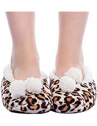 FRALOSHA Zapatillas de terciopelo de coral de invierno de las mujeres Zapatillas de felpa Zapatos antideslizantes suaves del piso