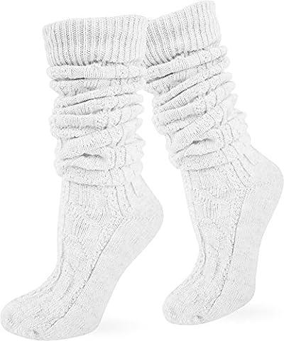 Original normani® Trachtensocken Trachten Strümpfe Socken Natur Farbe Weiß lang Größe 39/42 (Tracht Oktoberfest)
