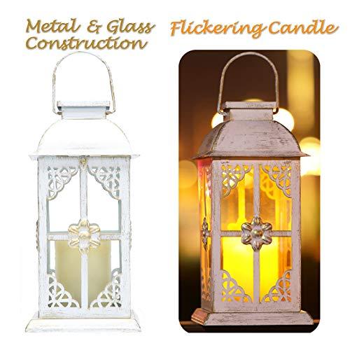 Solar Laterne aus weißem Metall im Antik-Stil, Wetterfeste Bezaubernde Tisch- oder Hängelampe für Außen- und Innenbereich Design mit Glasfenstern und flackernder LED Kerze