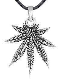 Schlüsselanhänger Hanfblatt Leder Cannabis Pflanze Blatt Metall Anhänger Charm