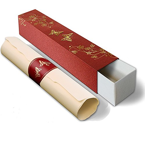 Urkunde Schriftrolle blanko Glückwunschkarte Einladung Schmetterlinge rot Gold F964m