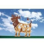 Metallmichl Edelrost glückliche Holz-Kuh, Höhe 59 cm - Breite 55 cm, rost Metall und Fichtenholz geflammt Kombination, Tierfigur für innen und außen