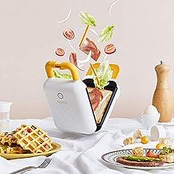 SYJYA Cuiseur Électrique Compact avec Chaleur - Poêle À Omelette Anti-Adhésive pour Griller Les Œufs Et Sandwich Facile À Nettoyer - Blanc