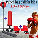 GOTOTOP 85-130cm Set Sac de Frappe Boxe Entrainement Enfant sur Pied Hauteur Réglable avec Gants de Boxe et Pompe