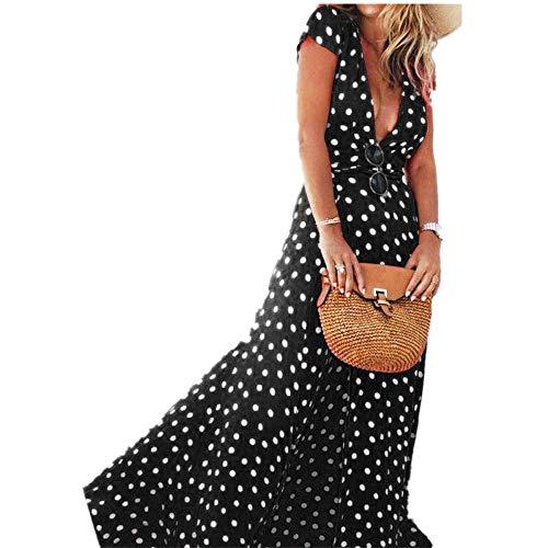Sannysis Falda Mujer Vestidos Largos de Verano, Lunares Negra (Negro, S)