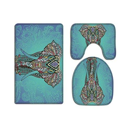 A.Monamour Mandala Elefante Telón De Fondo Patrón De Tatuaje Tribal Estampado Hippie Indio Fundas De Asiento De Inodoro De Franela Conjunto De Alfombra De Baño Alfombrilla De Baño Tapas De Inodoro