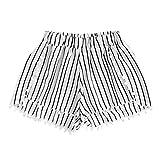 Hffan Damen Sommer Kurze Hose Frauen Streifen-Druck mittlerer Taille lose Shorts elastische Taille Sommershorts Hotpants Damenhosen Hotpants Spitze mittlere Taille Hosen Kurze Pants (Weiß, L)