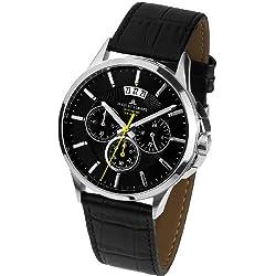 Jacques Lemans Sydney 1-1542A Men's Chronograph Black Leather Strap Watch