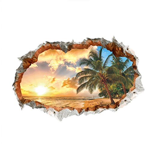 WandSticker4U- 3D Wandtattoo Sonnenuntergang beim Meeresstrand | 60x90 cm | Meer Strand Ozean Mauer Palme | Wandbild Poster Deko Tapete Wohnzimmer Schlafzimmer Badezimmer Küche Gross