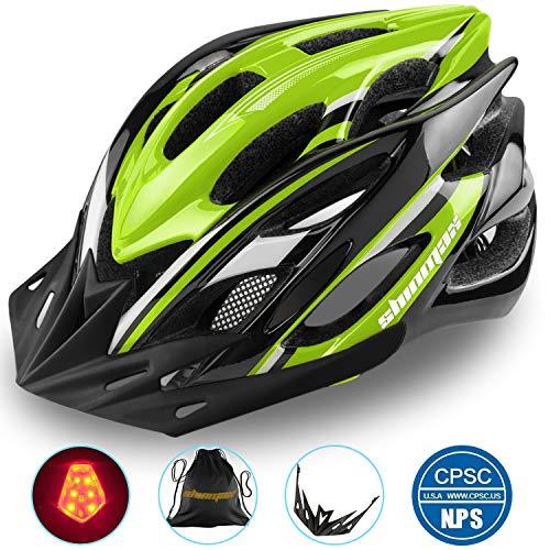 Shinmax Casque de Vélo Spécialisés Eclairage Sécurité Réglable Vélo Sport Casque Vélo Route VTT Moto Hommes Adultes Femmes Hommes Racing Protection Sécurité(Noirvert-Grande Lumière)