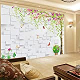 Hwhz Custom 3D Mural Wallpaper for Wall Non-Woven Cartoon Tree Brick Wall Paper Home Decor Room Tv Sofa Backdrop Straw Wall Cover-350X250Cm