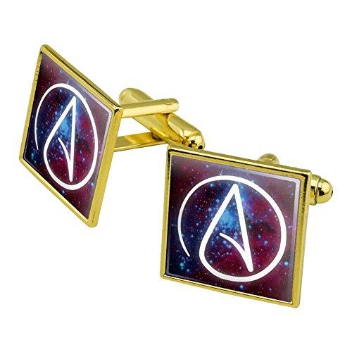 Atheist Atheismus Symbol in Platz Manschettenknöpfe, quadratisch Set Gold Farbe