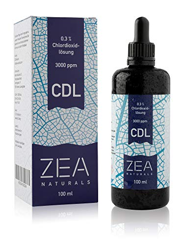 ZEA Naturals - Chlordioxid-Lösung 0,3{ece04aca1059a1eb3c6e280c4731d9ae65c6c822501eba96cd05c676e3918f24} (100 ml) - Einführungspreis - CDS - CDL - Mironglasflasche + Gratis Glaspipette - Made in Germany