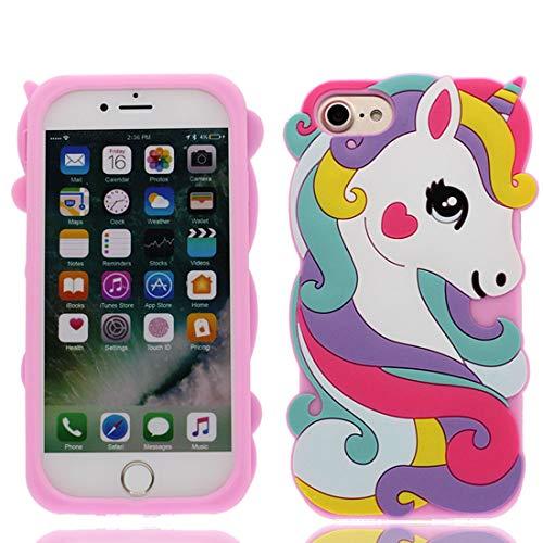 MZBaoLingMeiDongEU Case für iPhone 7 4.7', 3D Cartoon Rainbow Unicorn Muster Schöne Mode Pferdetasche, weiche Silikon Gel Gummi Fun Shell Shockproof Case - pink