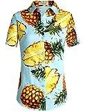 SSLR Damen Ananas Kurzarm Casual Hawaii Shirt Tropische Blusen (X-Large, Blau)