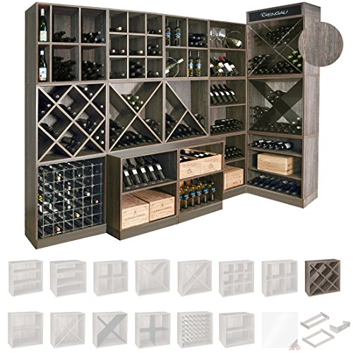 Weinregal / Flaschenregal System CAVEPRO, Regalmodul mit Rauten, Holz Melamin beschichtet, Wenge