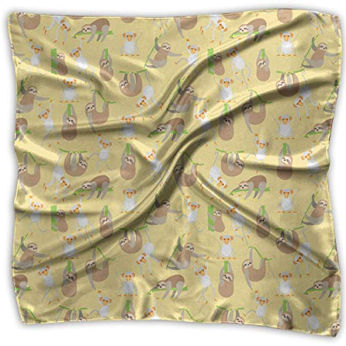 and Sloth Pattern Women's Large Square Scarf Set Silk Feeling Satin Hair Wrapping ()