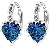 pengmma Lady crystal corazón Leverback Stud Pendientes (luz azul)