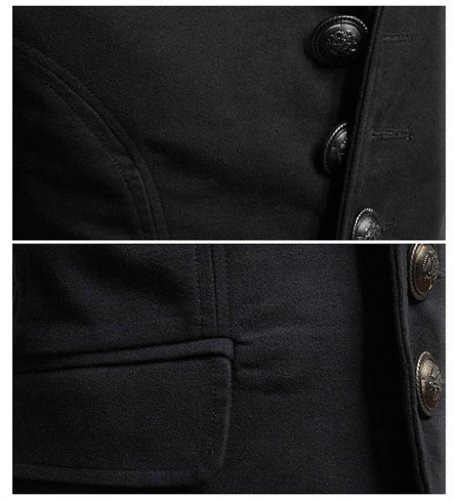 VOBAGA Hommes Décontractée Mode Slim Fit Manteau Blazer Noir