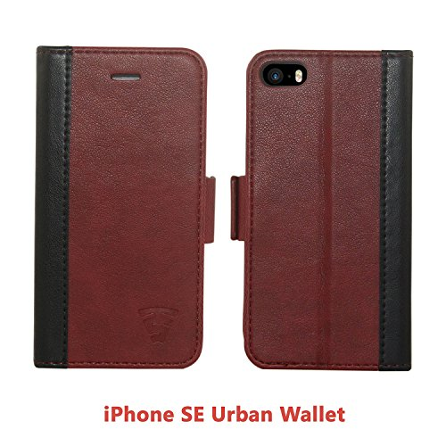 iPhone 5/5S/SE Faux Leather, Urban Wallet Case By Tech Sense Lab With Kickstand feature And Card Slots, Military Grade TPU Holder & Effortless Double Magnetic Clasp Flip Case (Burgundy)
