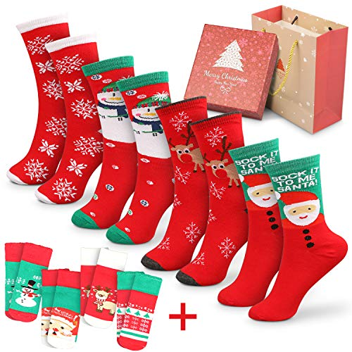 Magicfun Calcetines de Navidad Lindo de algod n Animal de Dibujos Animados Reno de Santa Claus Antideslizante Unisex 8 Pares Ca