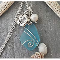 Handmade in Hawaii, wire wrapped blue sea glass necklace, Hawaiian state flower Hibiscus and freshwater pearl, sterling silver chain, Birthday Gift, FREE gift wrap, FREE gift message