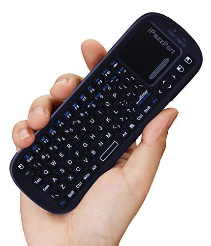iPazzPort Mini Wireless Handheld Tastatur mit Touchpad Maus Combo für Android TV Box und Raspberry Pi 3 und HTPC und XBMC KP-810-19S - Schwarz (Handheld-maus)
