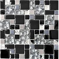 Glasmosaik Effet Mosaïque Carreaux En Verre Clair Métal Noir Argent Gris En Verre Clair 1 A