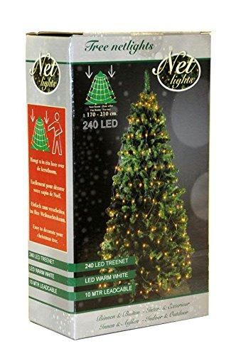 240 LED Trapez Kegel Warmweiß Netz für Weihnachtsbaum Timer 170-210cm Lichternetz