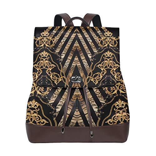 Mochila de Cuero de PU Cordón de Piel de Leopardo Floral Abstracto para Mochila de Viaje Mochila de Hombro Bolsa de Hombro Informal