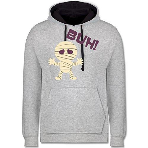 Shirtracer Halloween - Mumie Buh süß - XL - Grau meliert/Navy Blau - JH003 - Kontrast Hoodie (Mumie Ideen Kostüm Halloween)