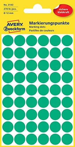 Avery Zweckform 3143 Markierungspunkte (Etiketten, Ø 12 mm, 270 Stück) grün