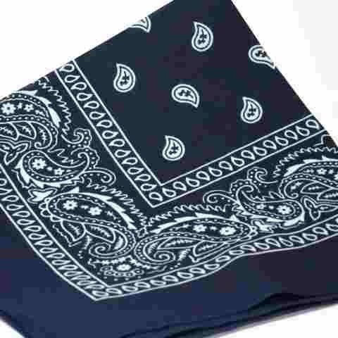 NAVY BLUE Bandana with WHITE square Paisley pattern ON BOTH SIDES