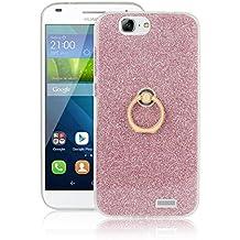 Meimeiwu Alta Calidad TPU funda cover caso + 360 Grados Rotaria Ring Holder para Huawei Ascend G7 - Pink