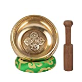 Méditation Plaine tibétaine Bol chantant avec Bajra Crafted et pochette de protection-GOLD-1- (Petit)
