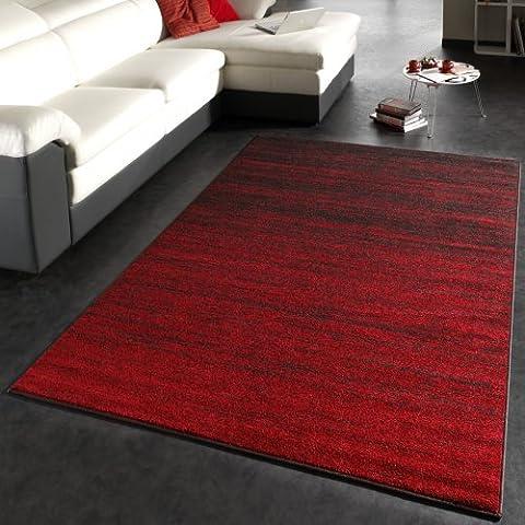 Alfombra Diseño Moderna De Pelo Corto Con Gradiente De Color Rojo Marrón, Grösse:80x150 cm