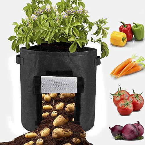 fgasad - 2 sacchi per piantare patate, con manico, per piante e verdure, in tessuto non tessuto spesso, da 10 litri
